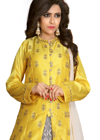 Lacha/Skirt suit with contrast embroidery-Lemon-Grey