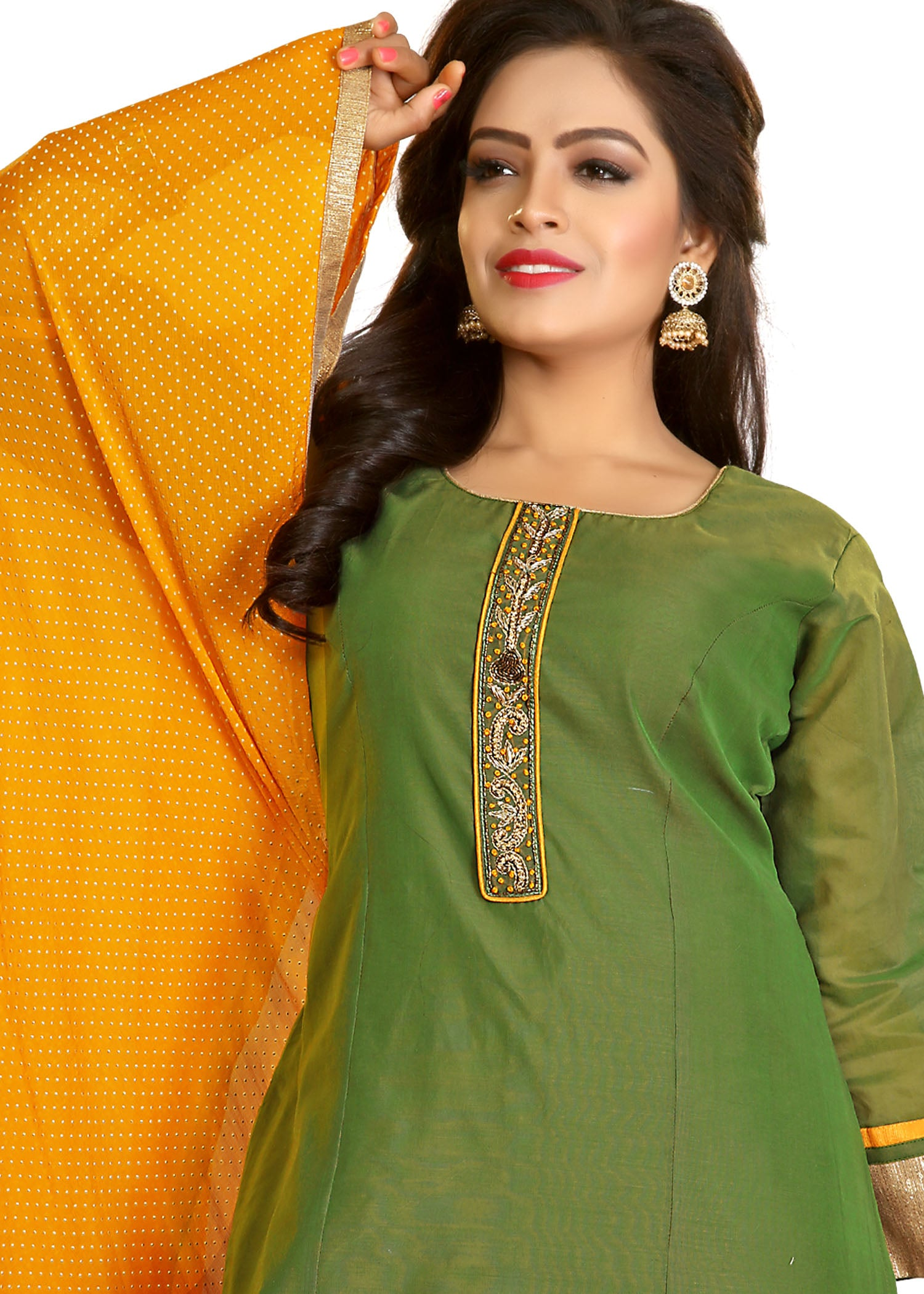 Palazzo Suit with resham hand embroidery-Green Yellow