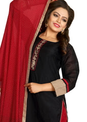 Palazzo Suit with resham hand embroidery/Black