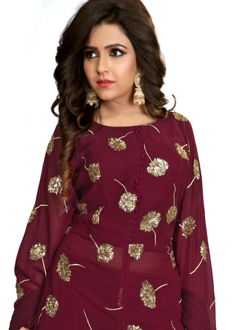 Palazzo Suit with gold sequin embroidery/Maroon