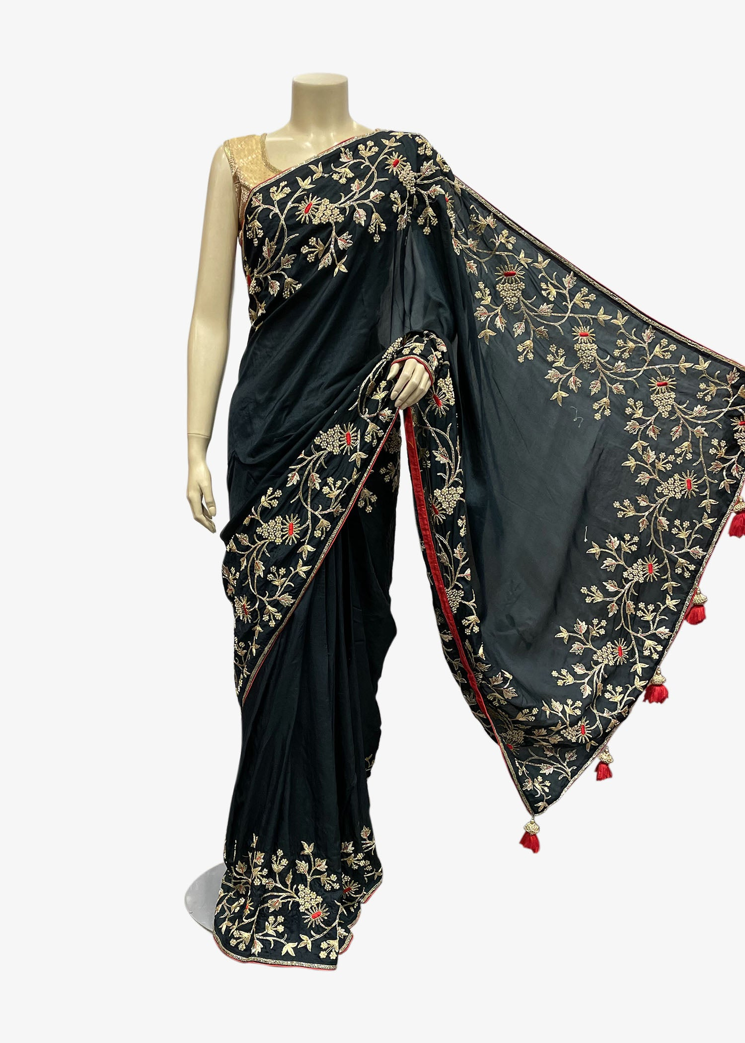 Blue Shaded Silk Saree With Resham Thread And Gold Zardozi Embroidery