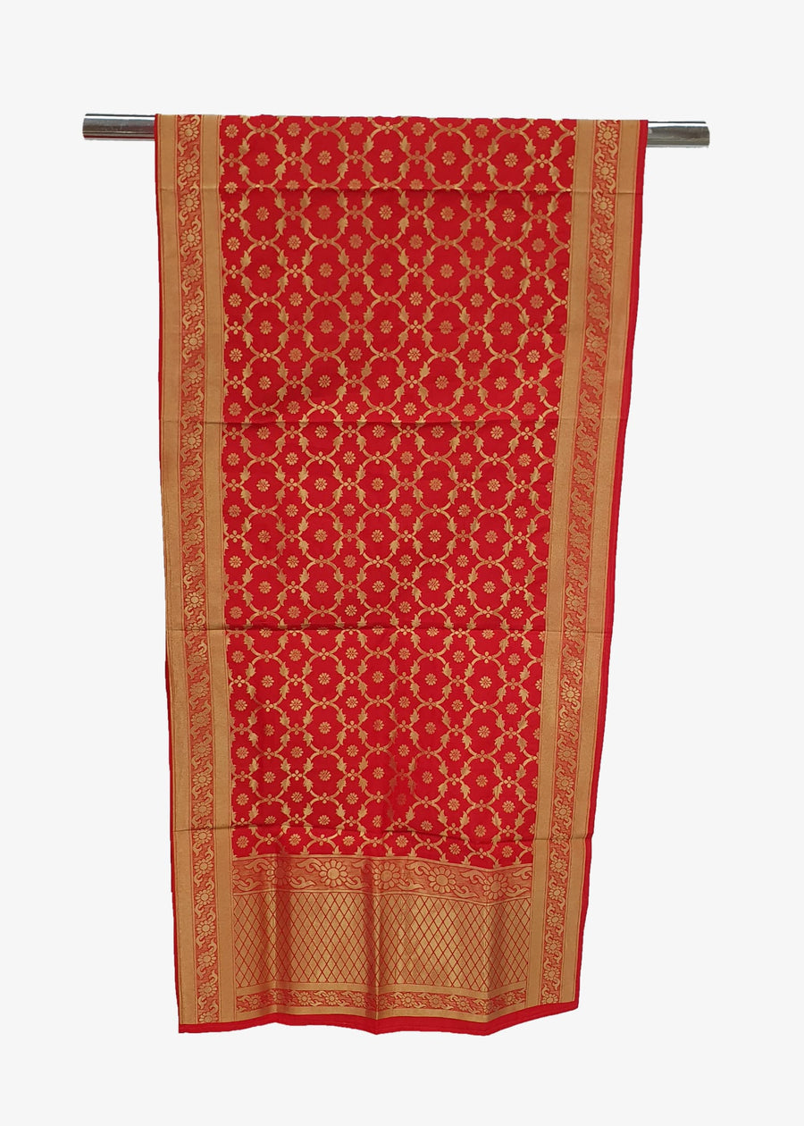 Red Brocade Silk Dupatta