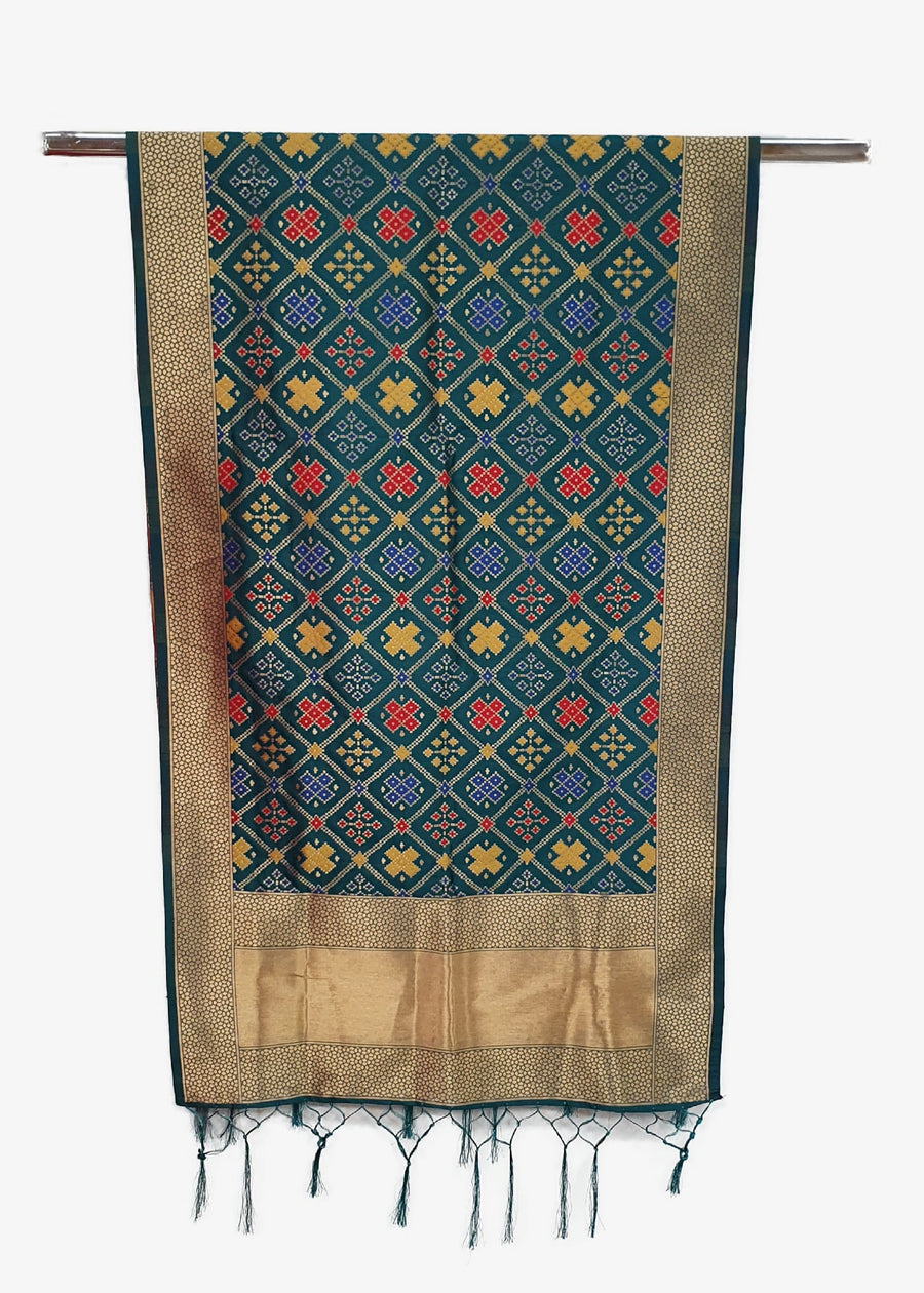 Green Multi Brocade Silk Dupatta