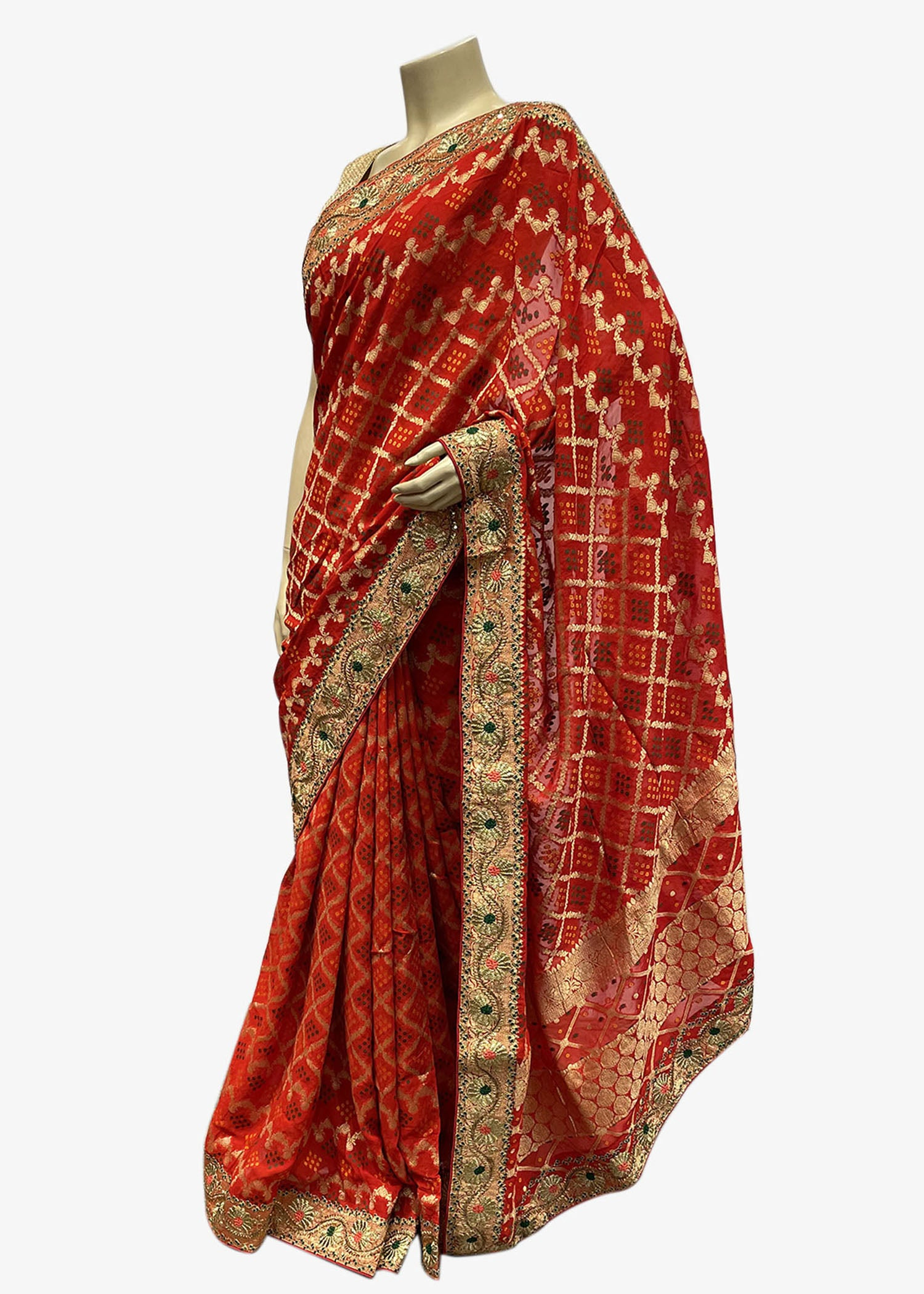 Red Silk Bandhej Saree With All Over Print