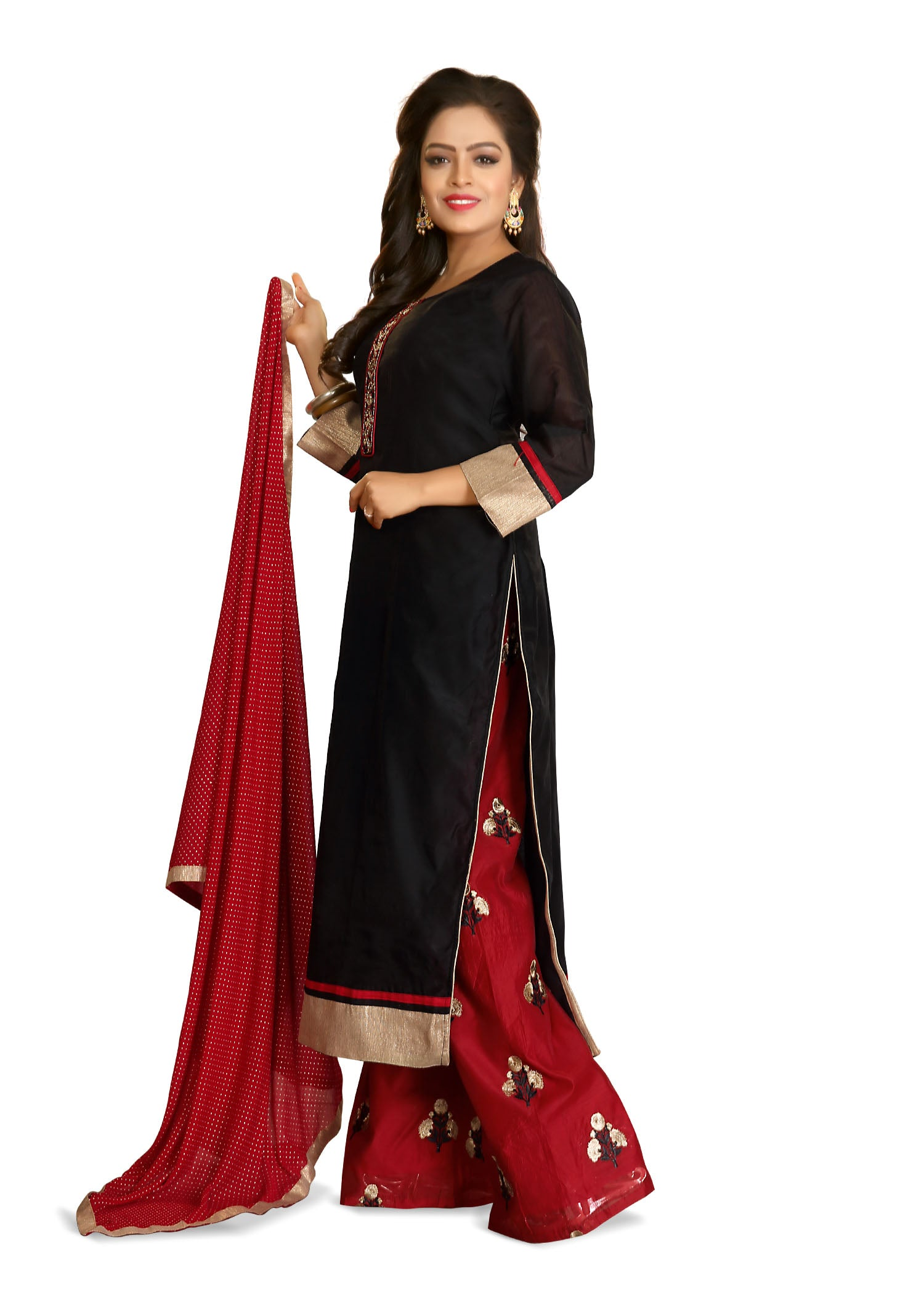 Palazzo Suit with resham hand embroidery-Black