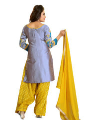 Patiala Suit with contrast thread embroidery/Grey-Yellow