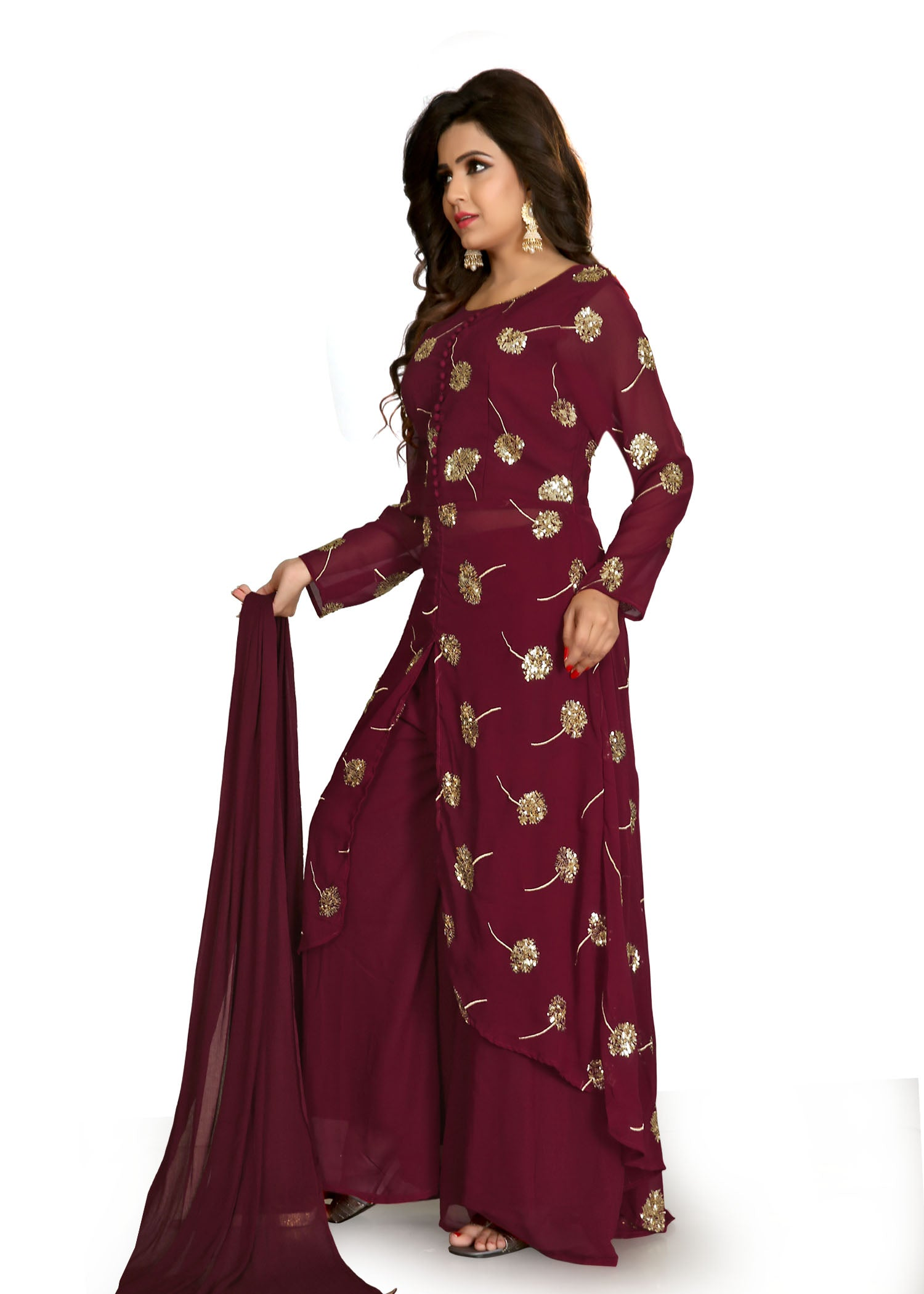 Palazzo Suit with gold sequin embroidery-Maroon