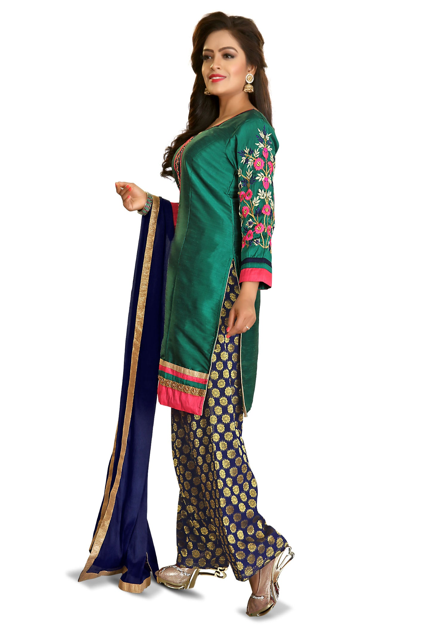Patiala Suit with contrast thread embroidery-Rama Navy