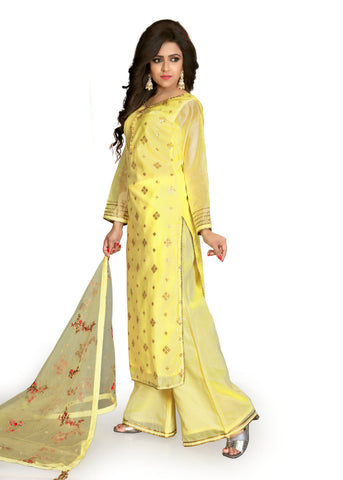 Palazzo Suit with gold hand embroidery/Lemon