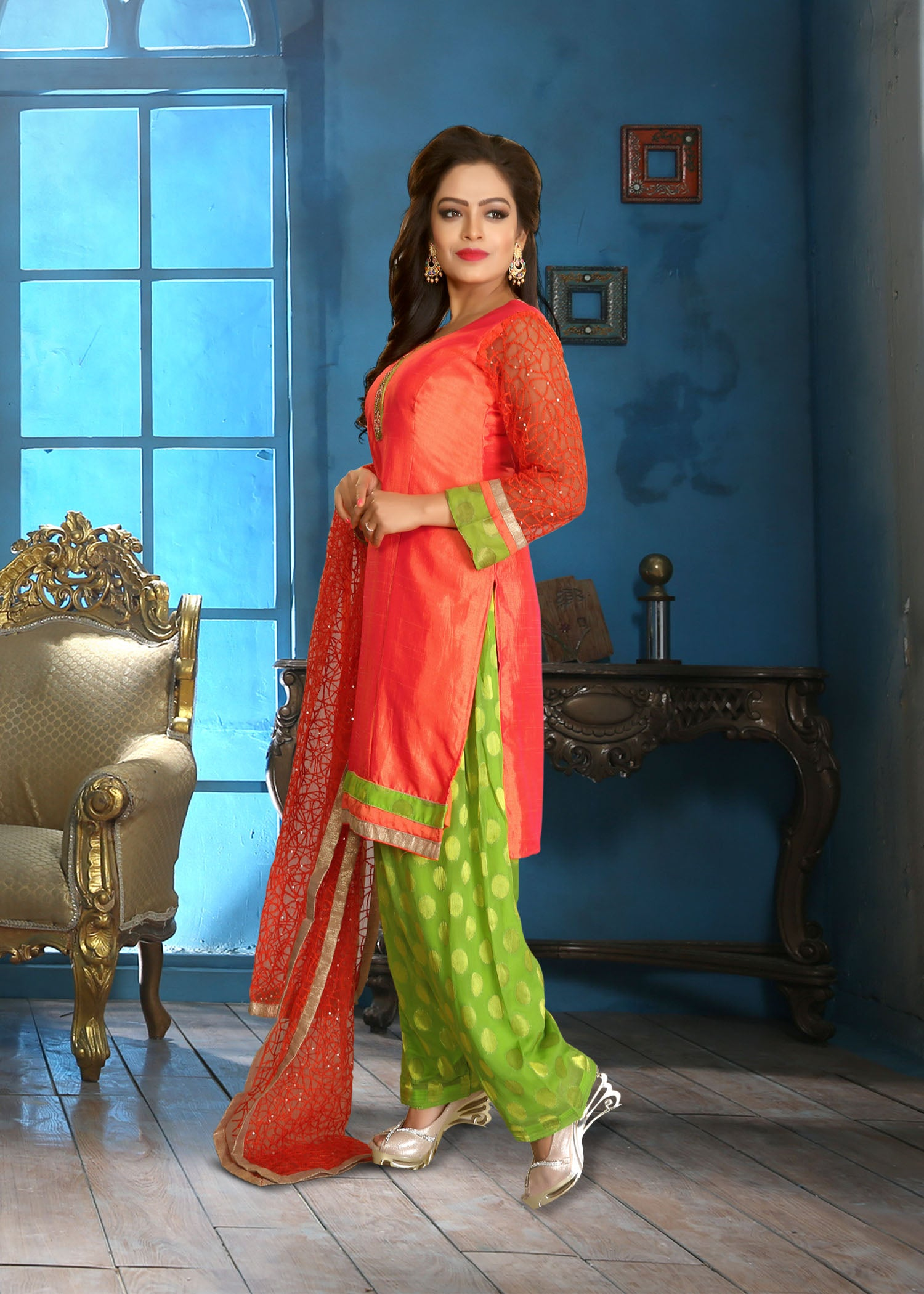 Patiala Suit with contrast thread embroidery-Tomato Red