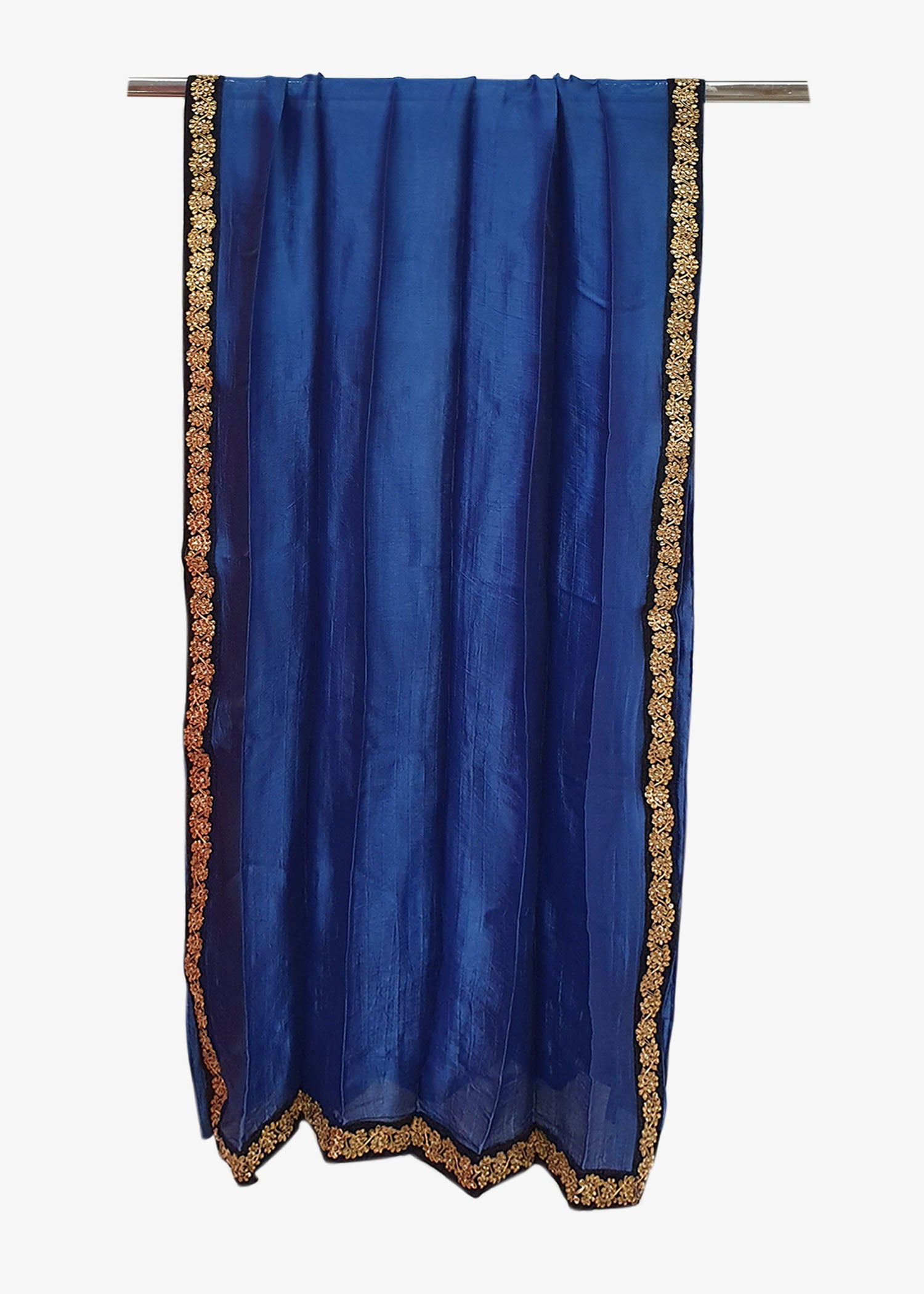 Blue Mens Silk Shawl With Four Side Embroidered Border