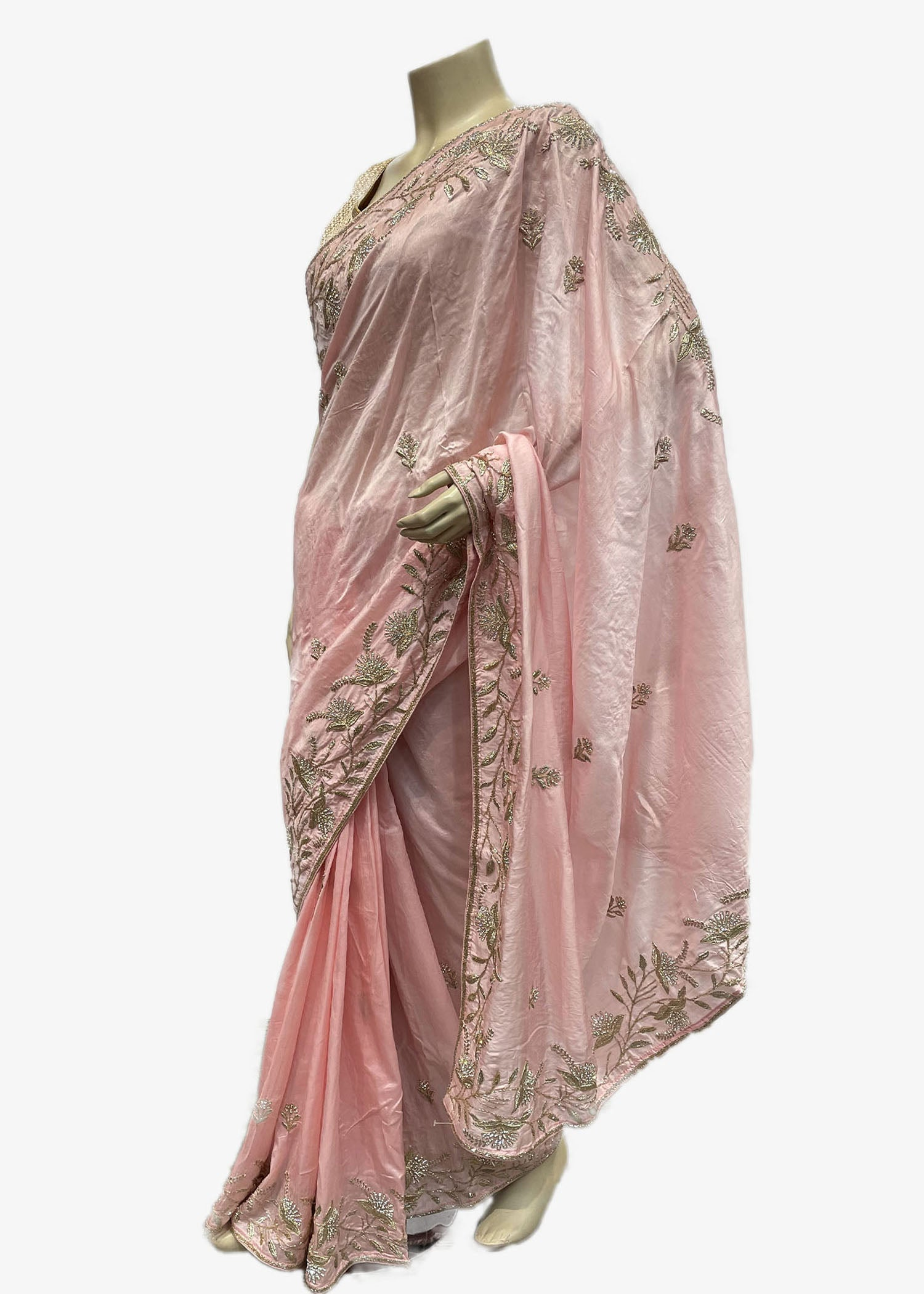 Baby Pink Silk Saree With Antique Zardosi Embroidery border