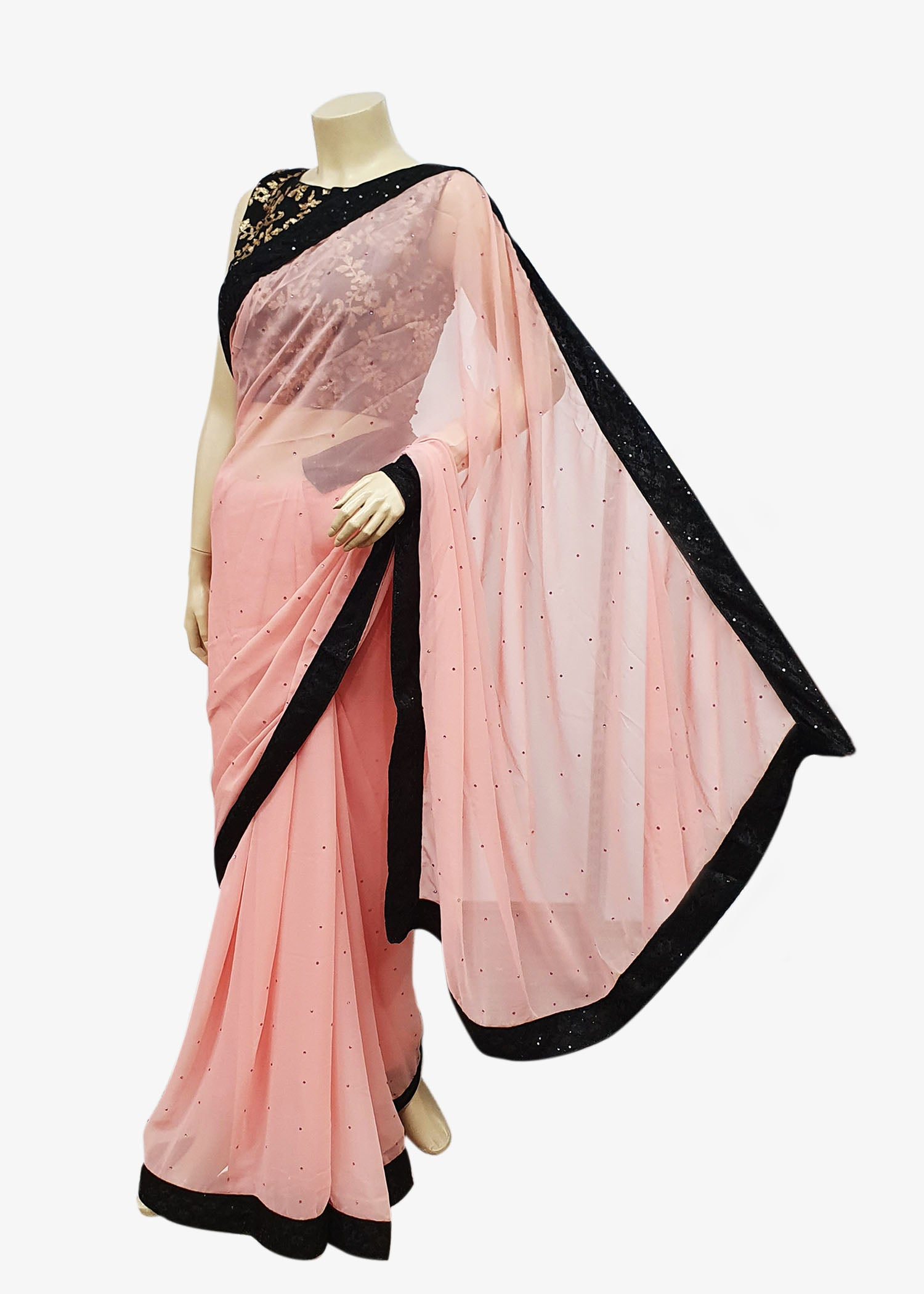 Light Pink Georgette Saree With Black Lace Border