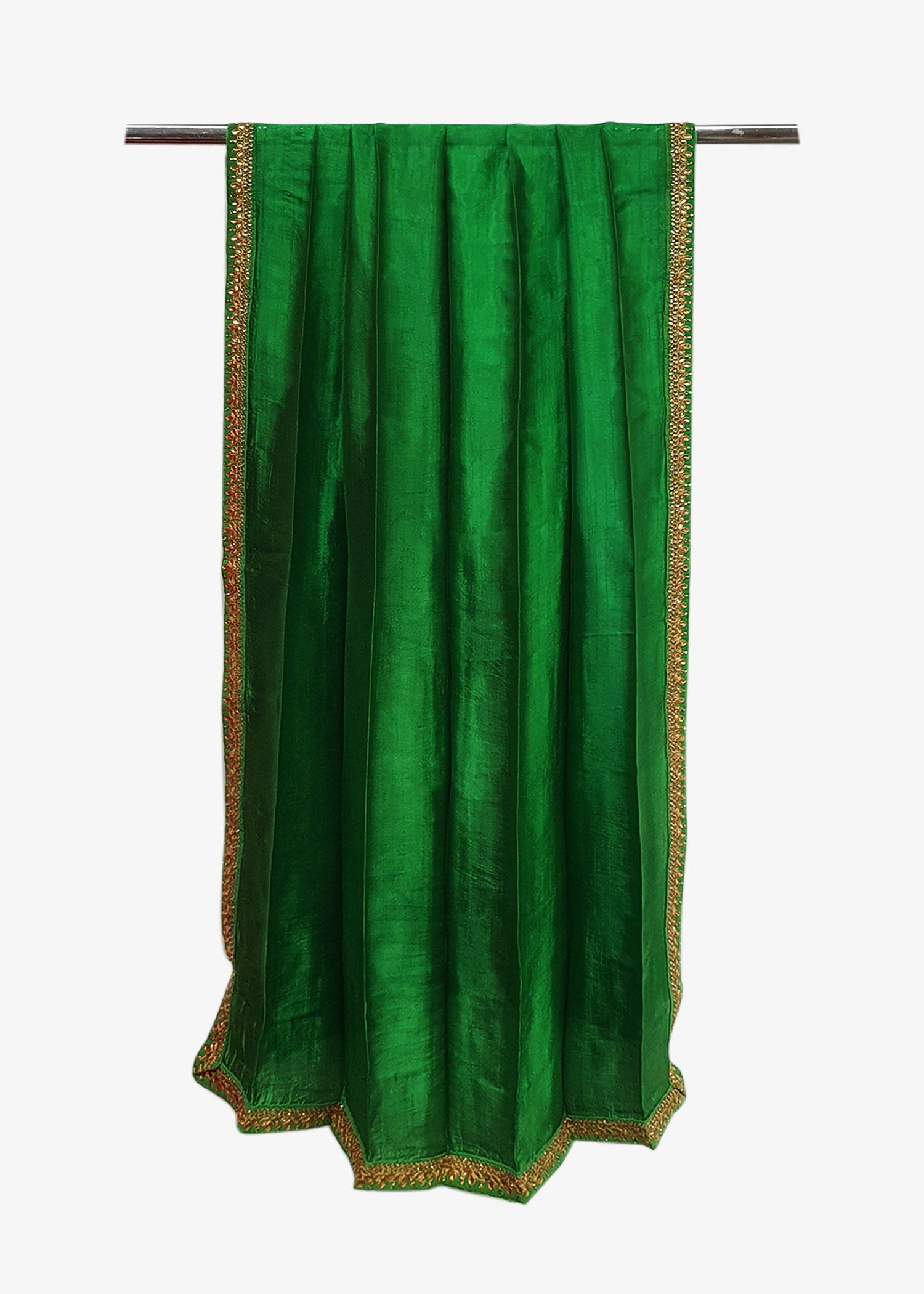 Green Mens Silk Shawl With Four Side Embroidered Border