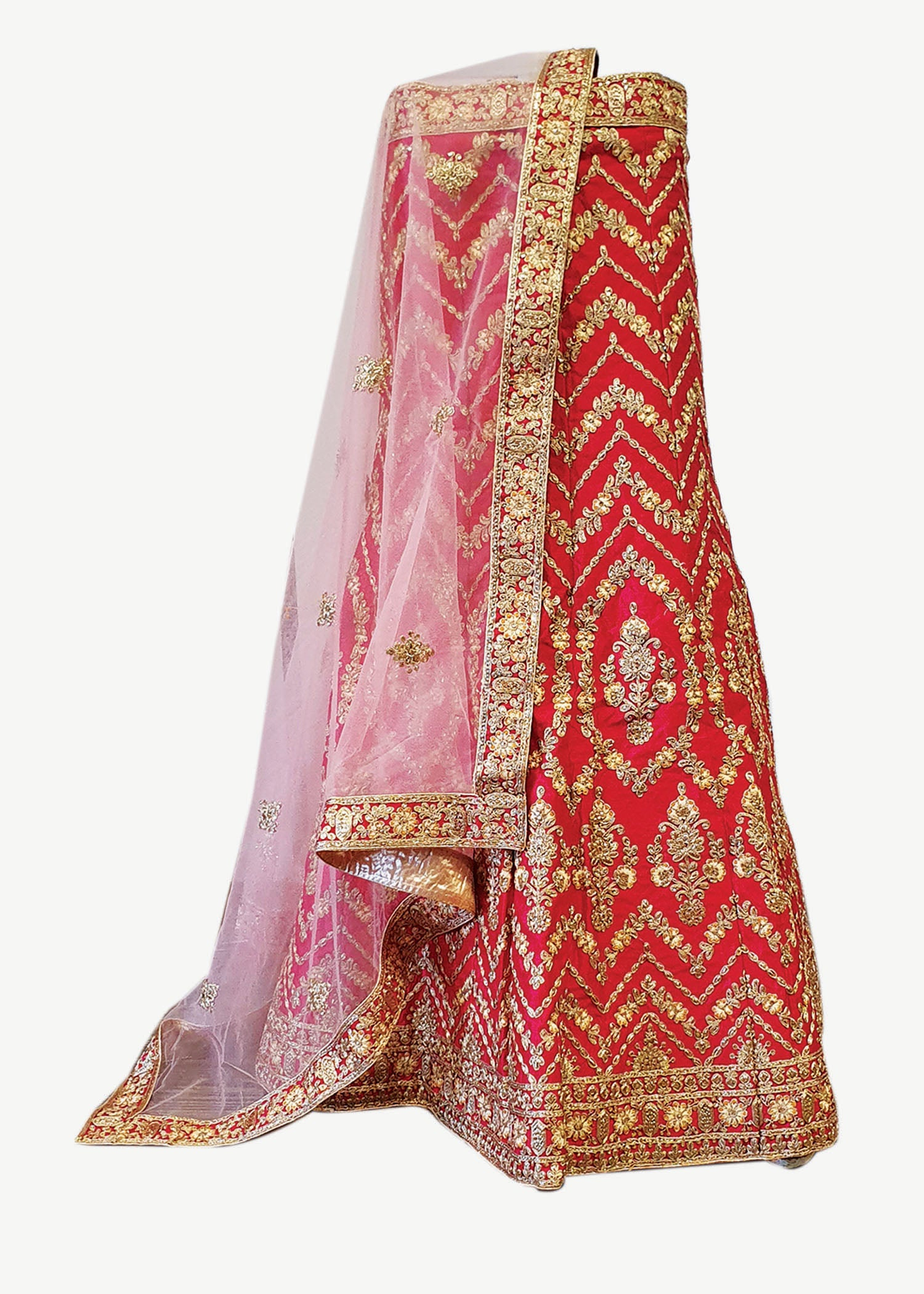 Red Raw Silk Unstitched Lehenga Suit
