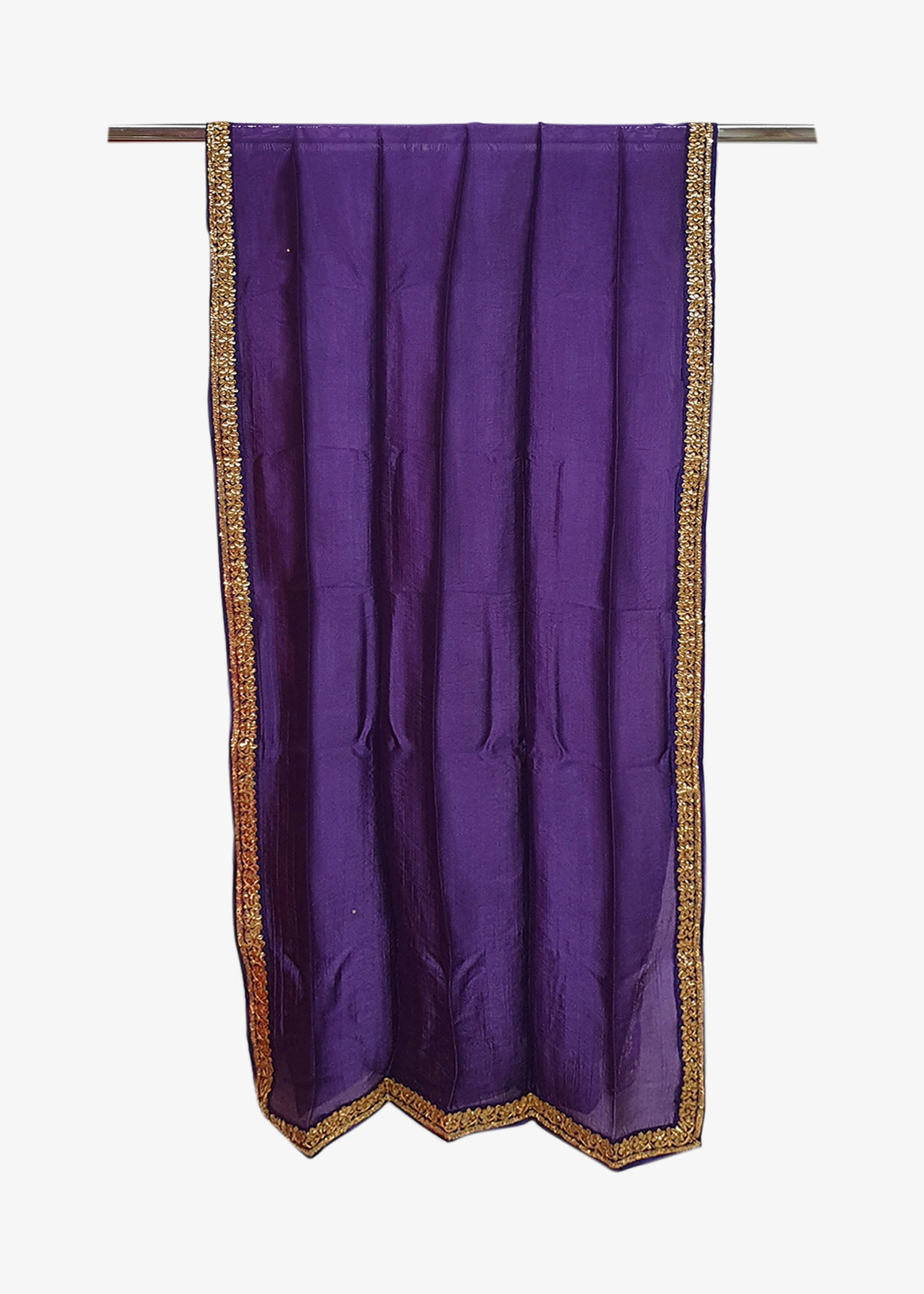 Purple Mens Silk Shawl With Four Side Embroidered Border