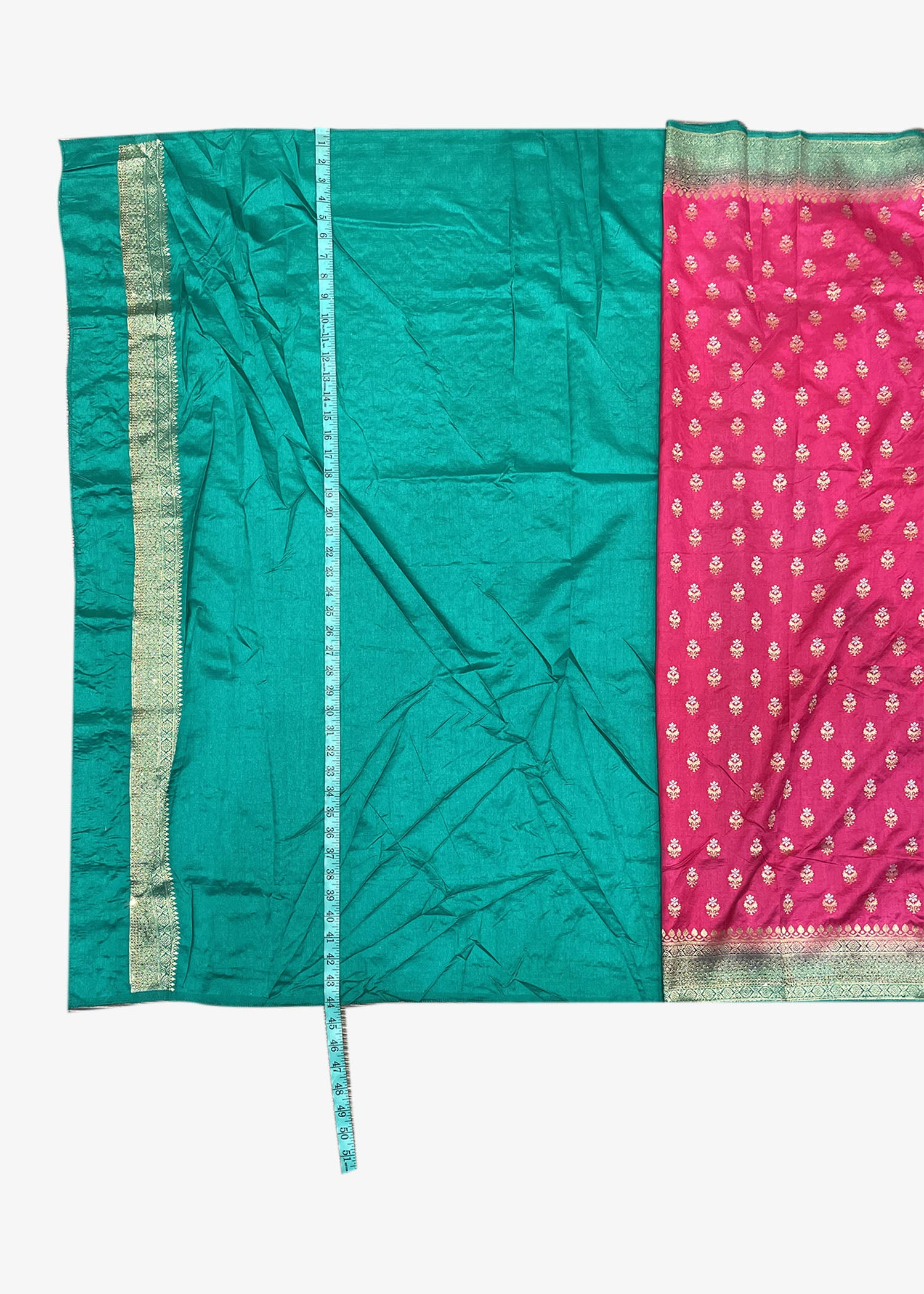 Pink Banarasi Silk Saree With Gold Zari Weaved Buttis With Teal Shaded Pallu And Border