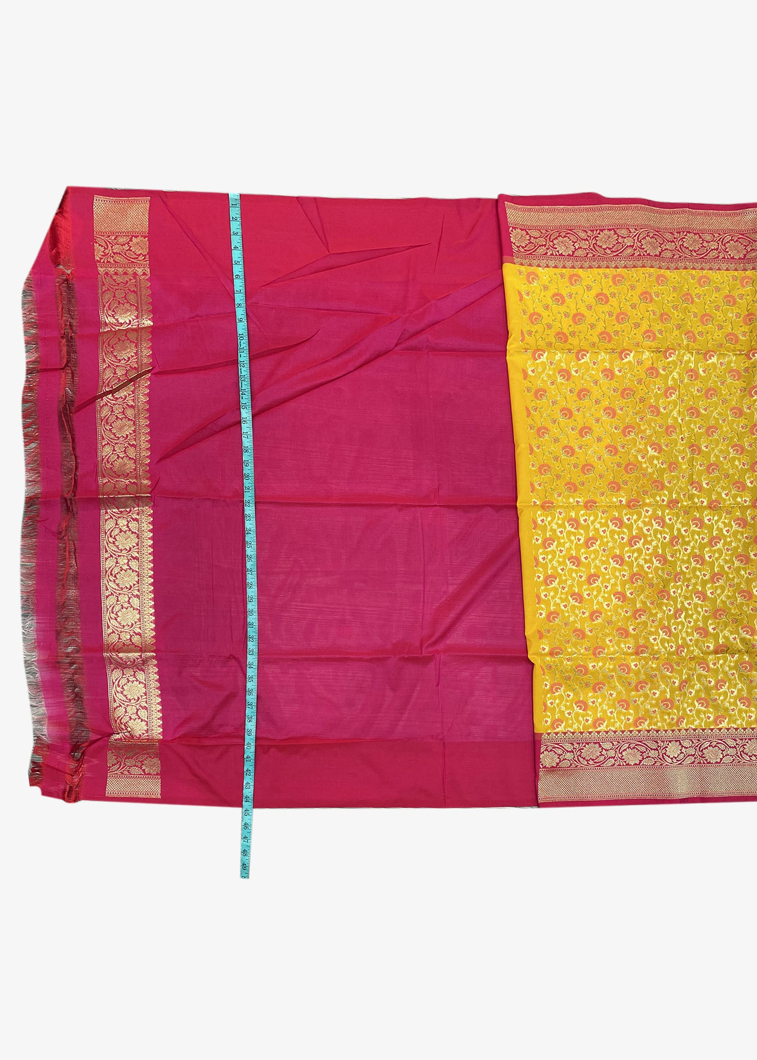 Yellow Banarasi Saree In Silk With Weaved Floral Jaal Work.