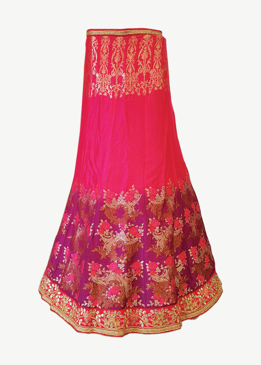 Pink Silk Unstitched Lehenga Suit