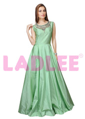 Soft tafeta silk gown with stone and pearl work - Mint