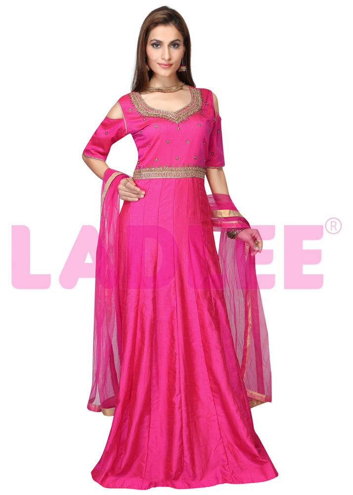 Bambar silk gown with gold thread work - Pink
