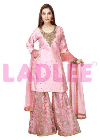 Raw silk Sharara suit with gold embroidery- Light Pink