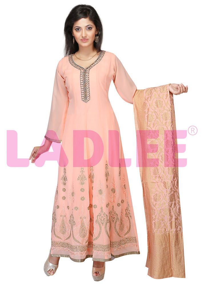 Georgette Anarkali with thread work- Peach