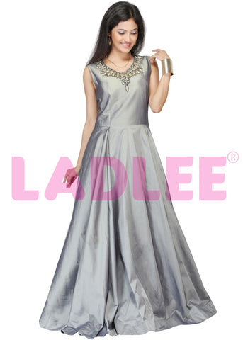 Soft tafeta silk gown with stone and pearl work - Grey