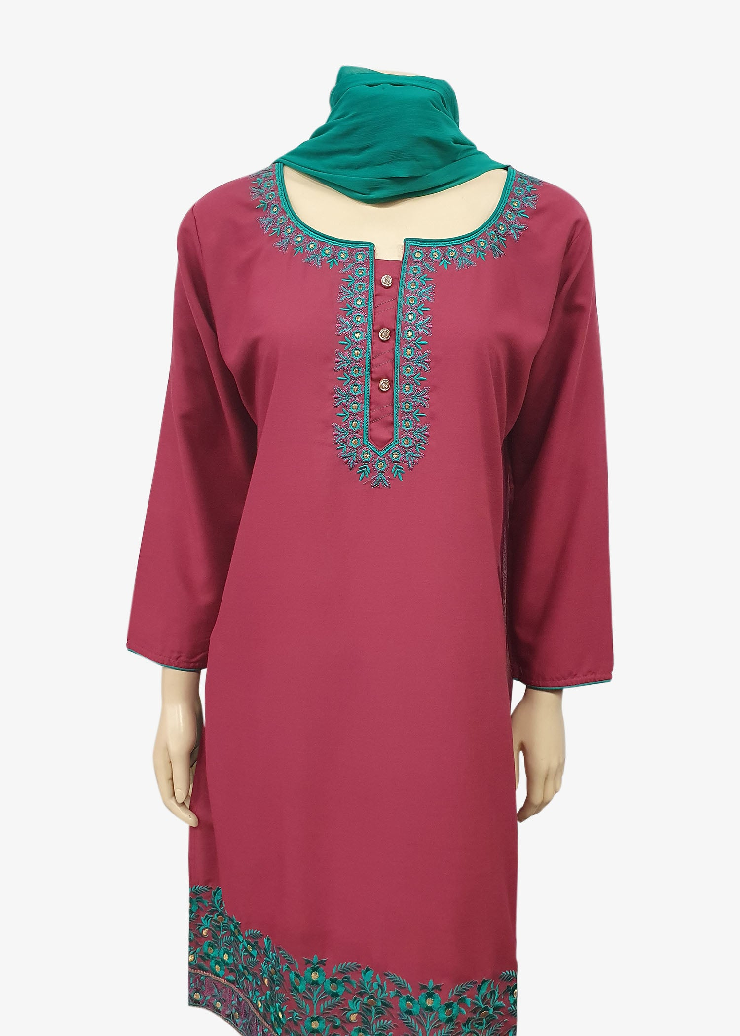 Teal-Magenta 4 Piece Salwar Suit