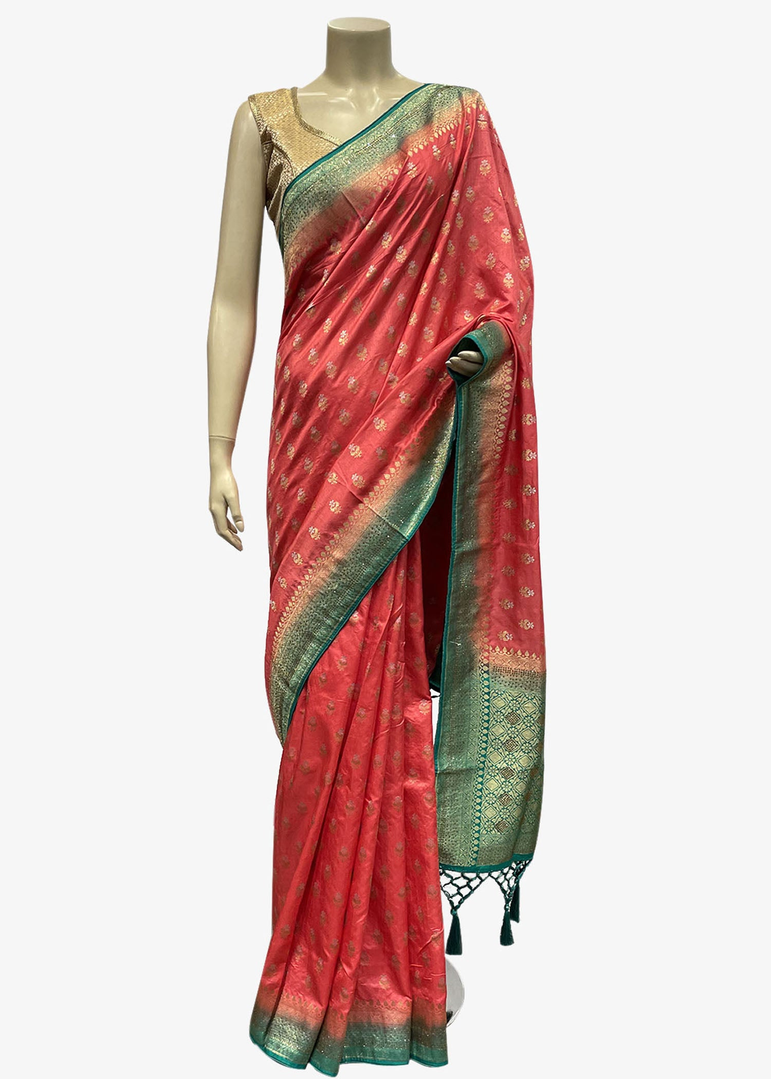 Peach Banarasi Silk Saree With Gold Zari Weaved Buttis With Teal Shaded Pallu And Border