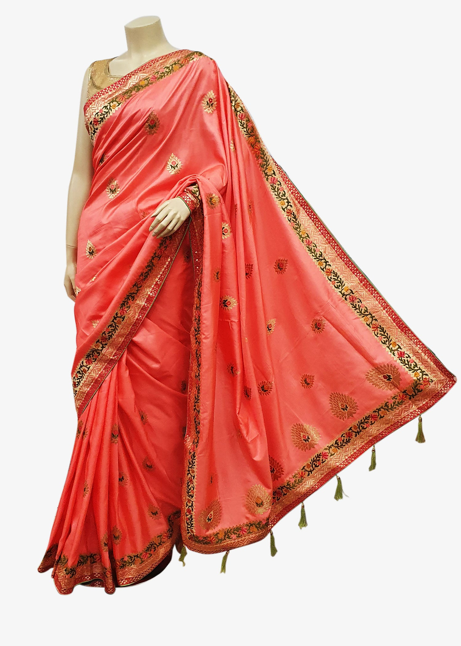 Pink Shaded Art Silk Saree With Resham Zari Embroidery