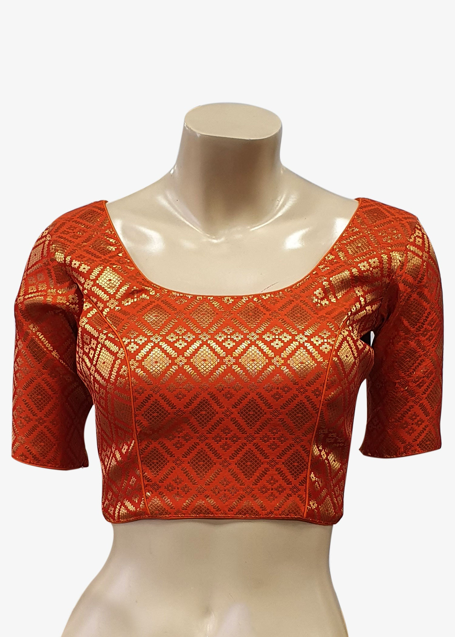 Orange Brocade Silk Saree Blouse