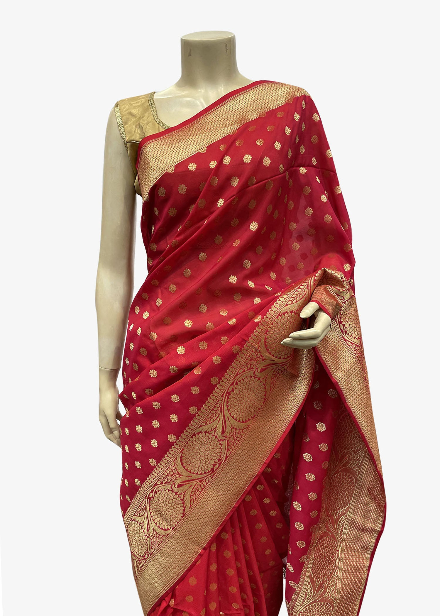Red Banarasi Silk Saree With Gold Zari Weaved Buttis And Floral Pattern On The Pallu