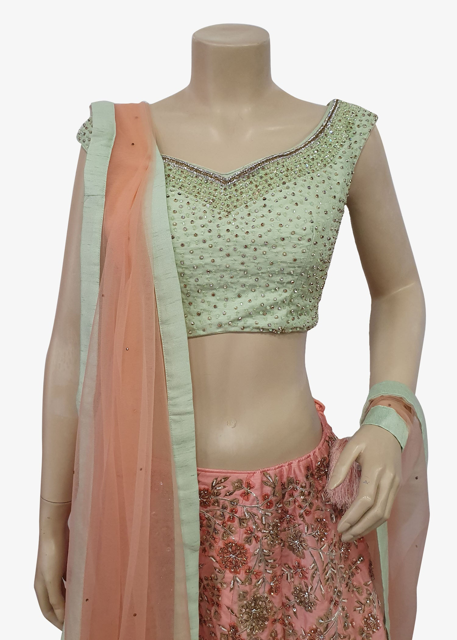 Pink & Mint Green Raw Silk Readymade Lehenga Suit
