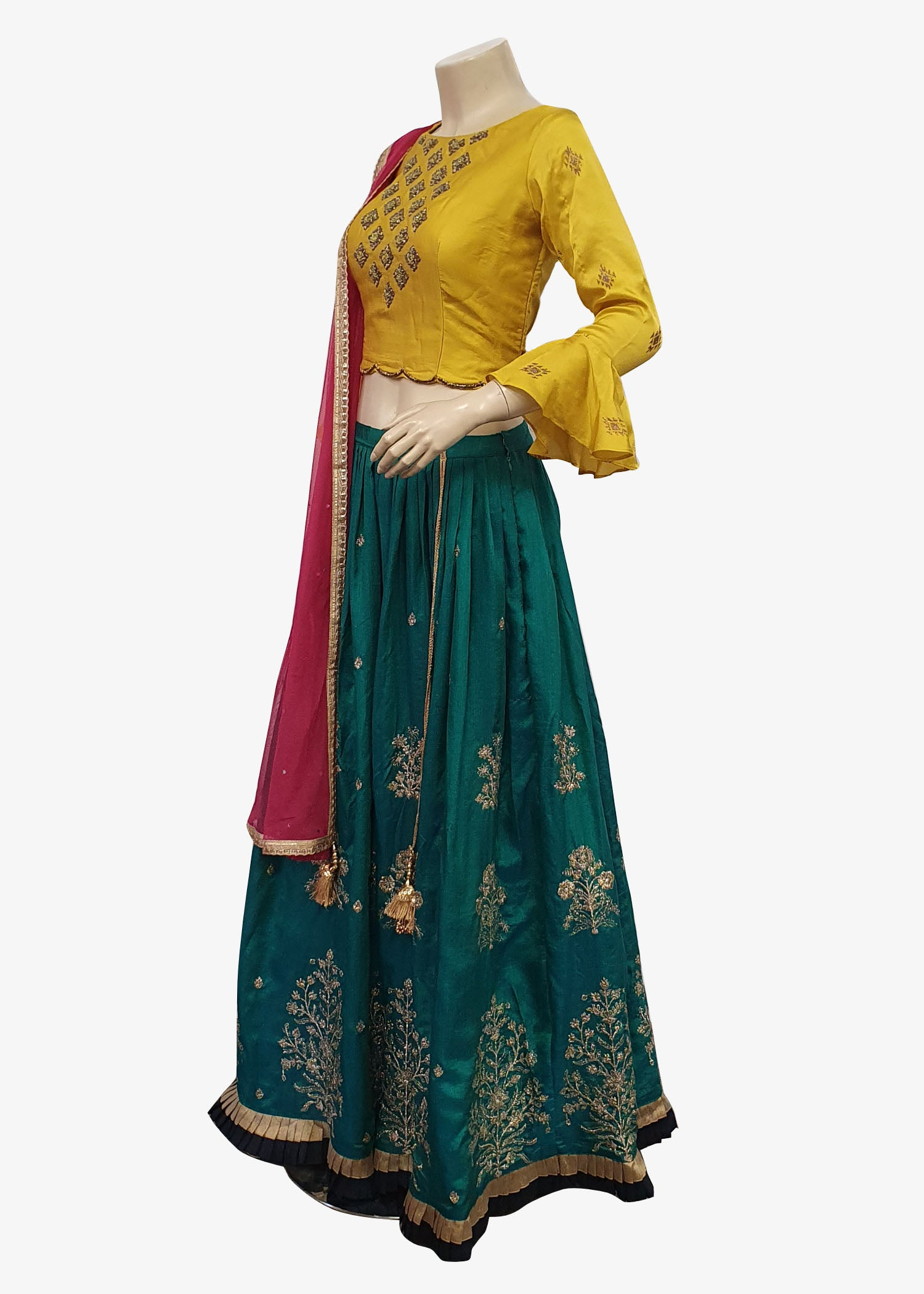 Yellow-Teal Raw Silk Readymade Lehenga Suit