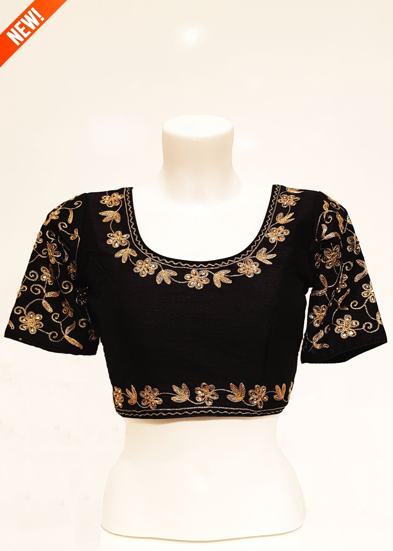 Raw silk Blouse with Sleeves - Black