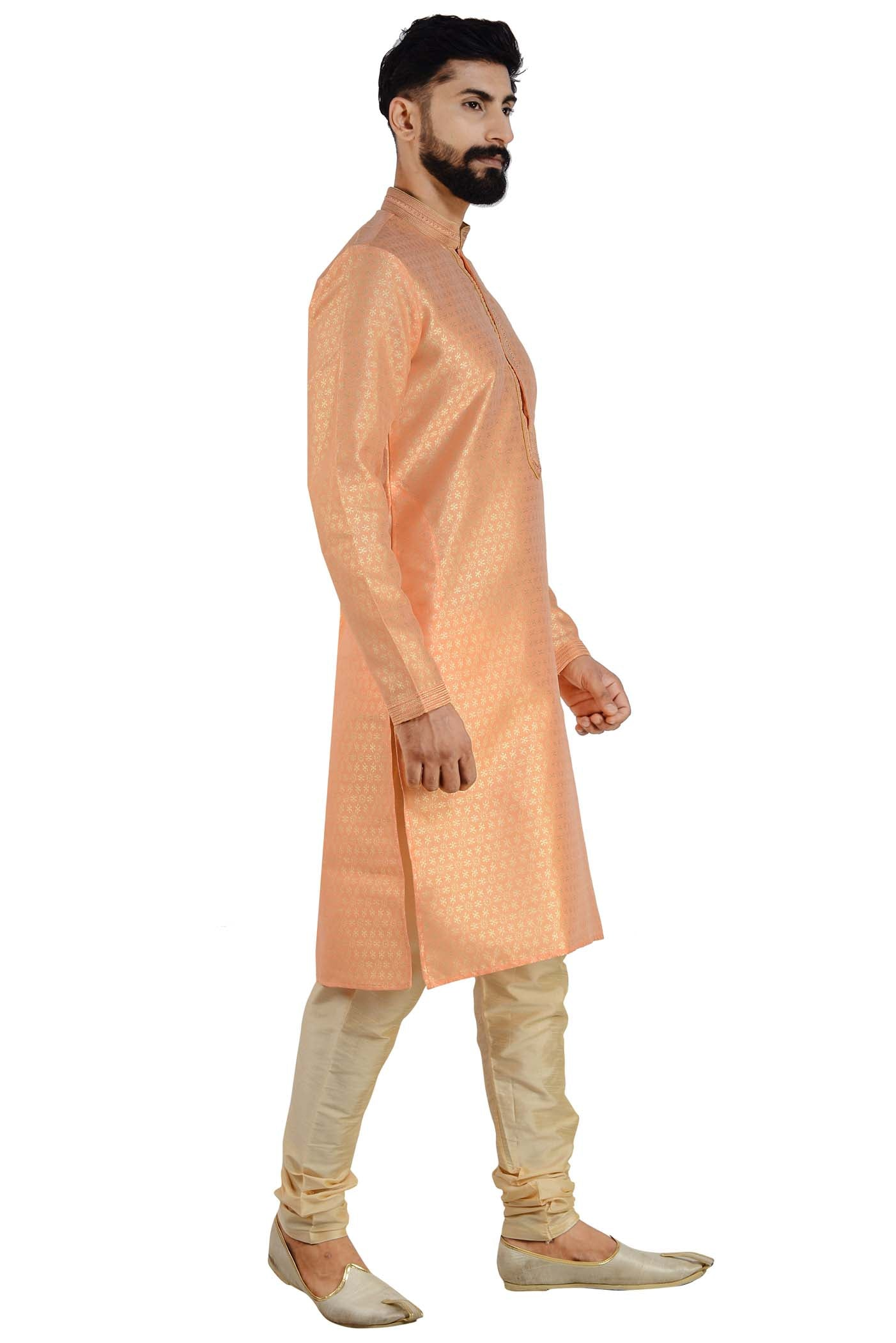 Brocade Silk Kurta Suit with Gold Churidar