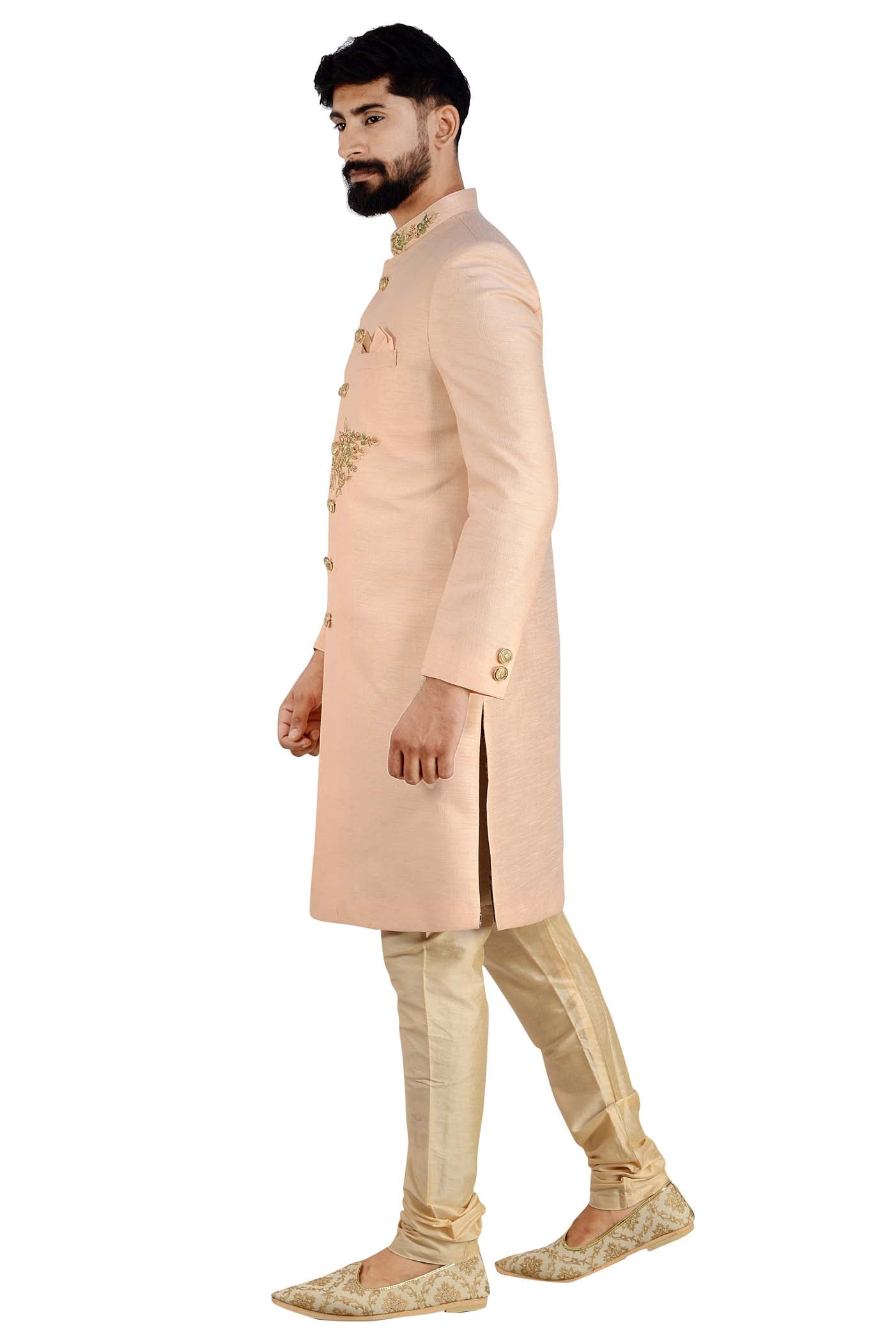 The Designer Raw Silk Sherwani Suit.