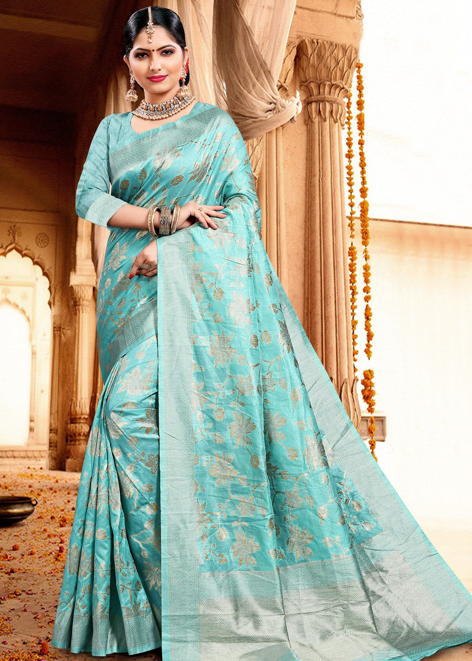 Light Blue Chanderi Silk Saree with Flower Zari Weaving All Over