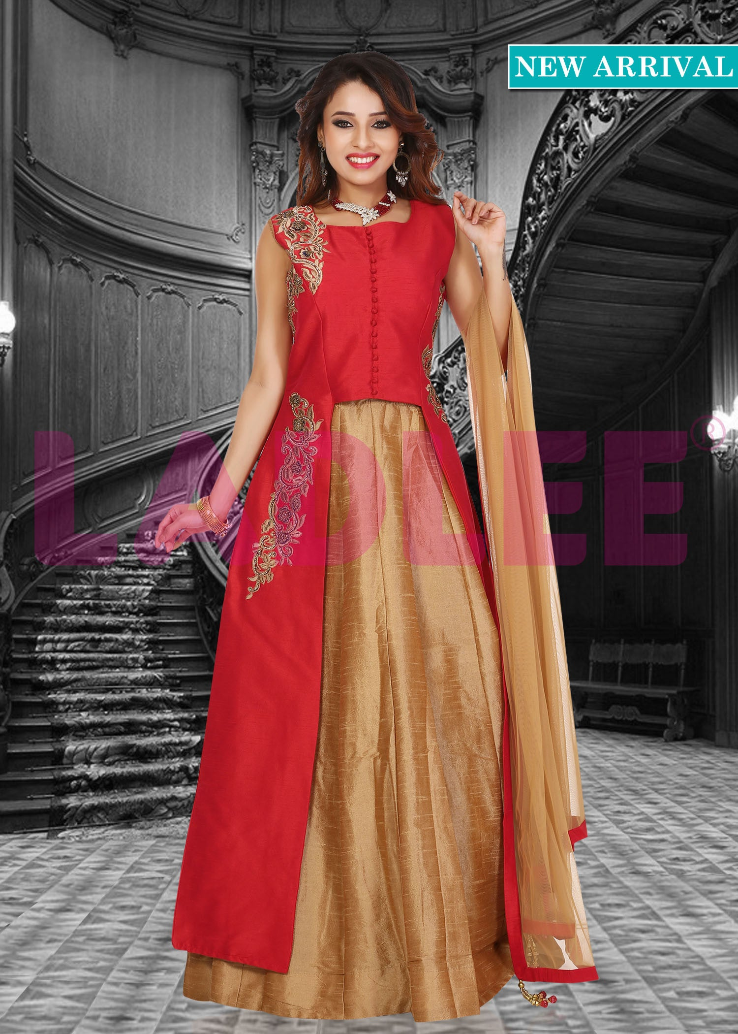 Raw silk lacha suit - Red