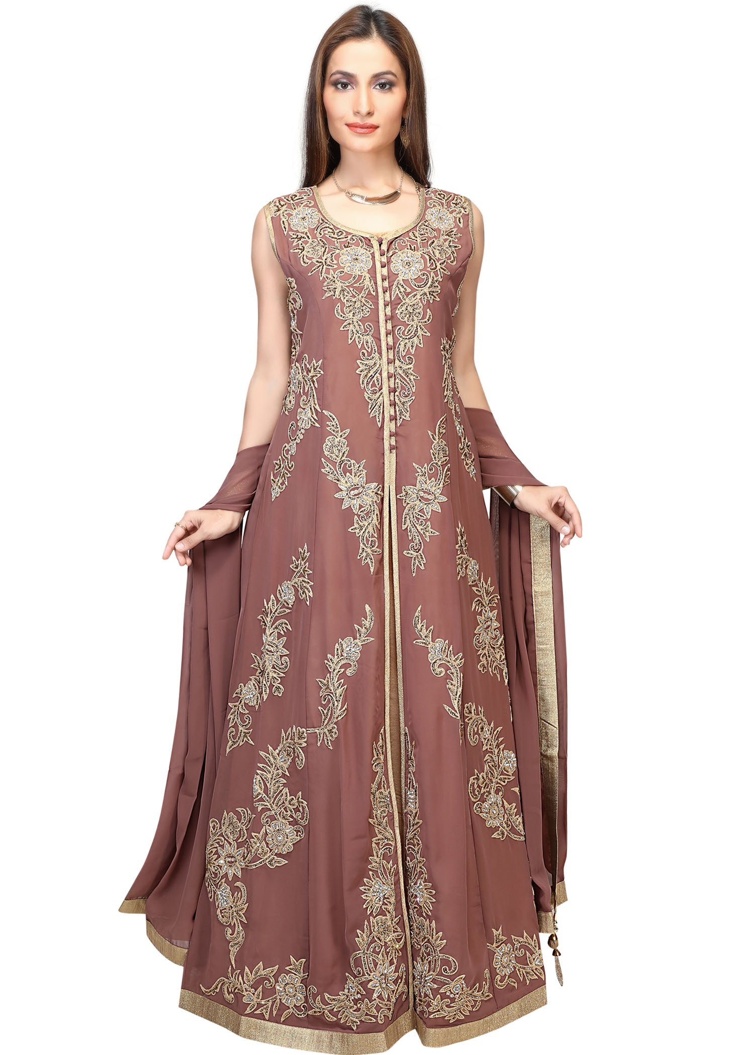 LD-3068/Rose Beige -Long Gown