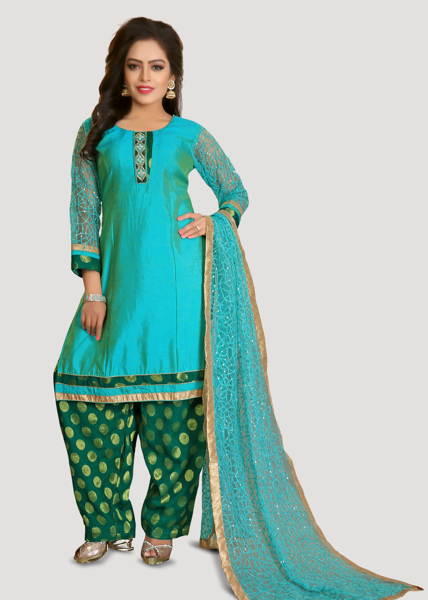 Patiala Suit with contrast thread embroidery-Firozi