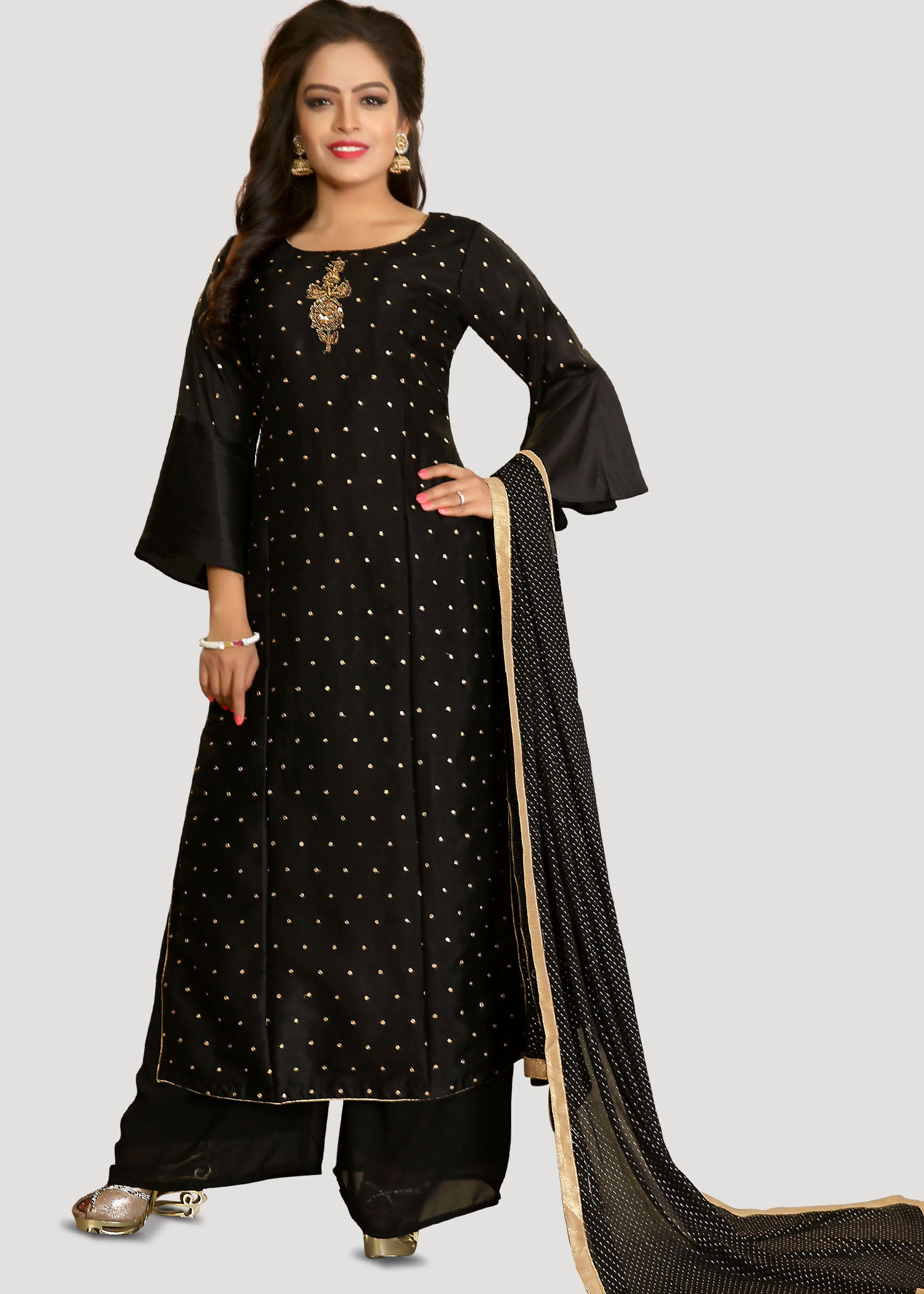 Soft Fabric Palazzo Suit with resham hand embroidery-Black