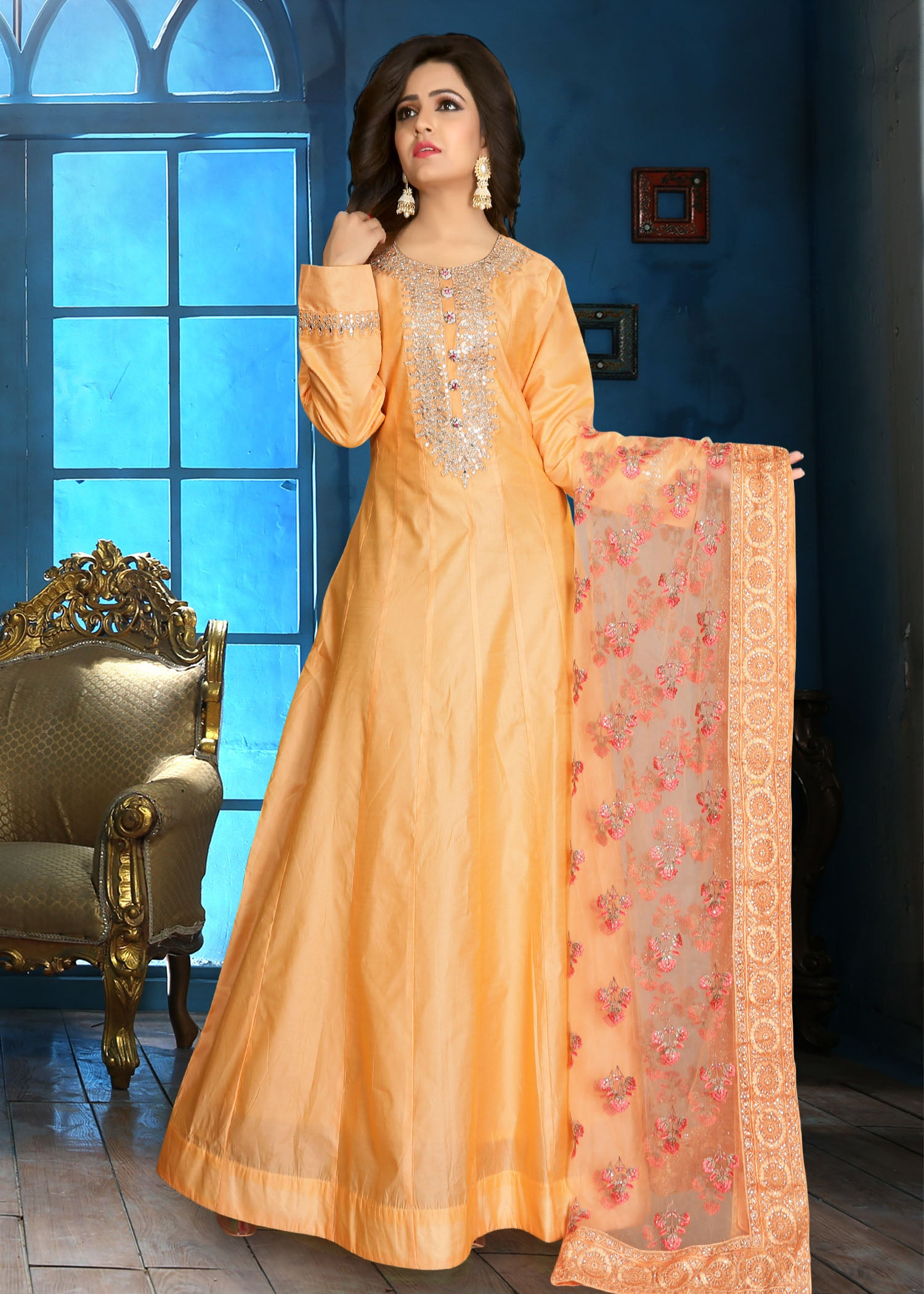 Silk Anarkali with silver hand embroidery/Light Peach