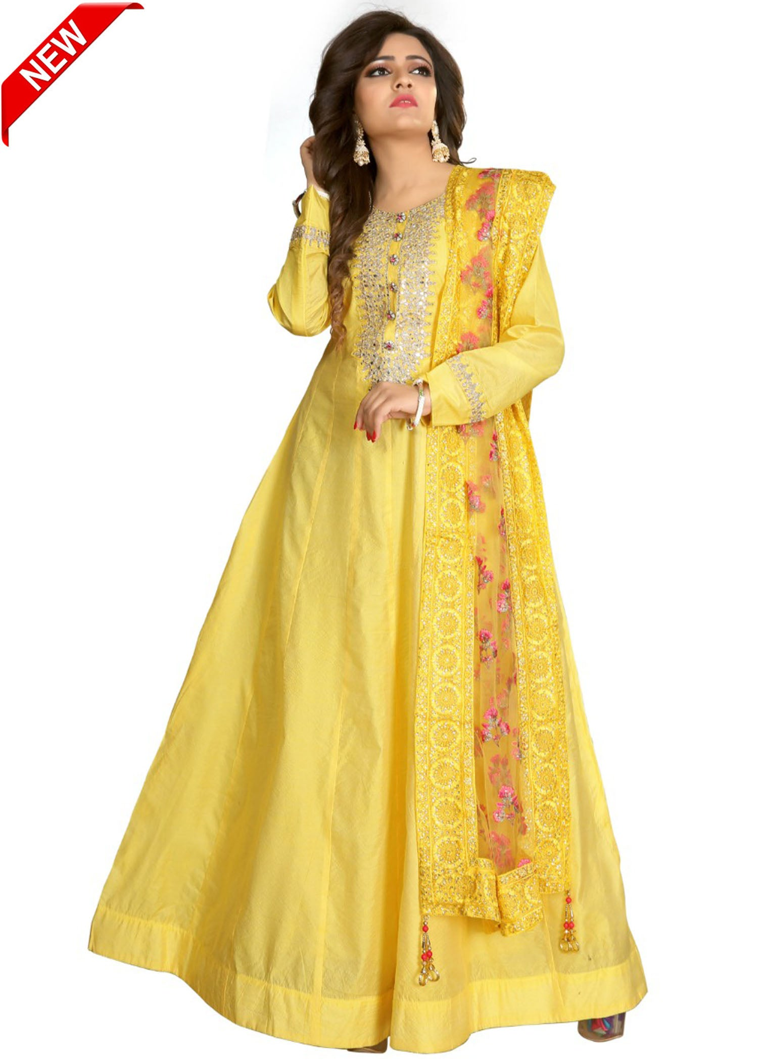 Silk Anarkali with silver hand embroidery/Light Yellow