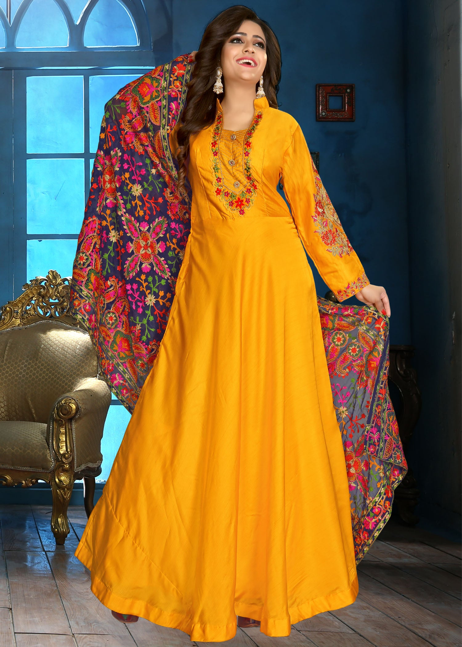 Silk Anarkali with contrast hand embroidery/Yellow
