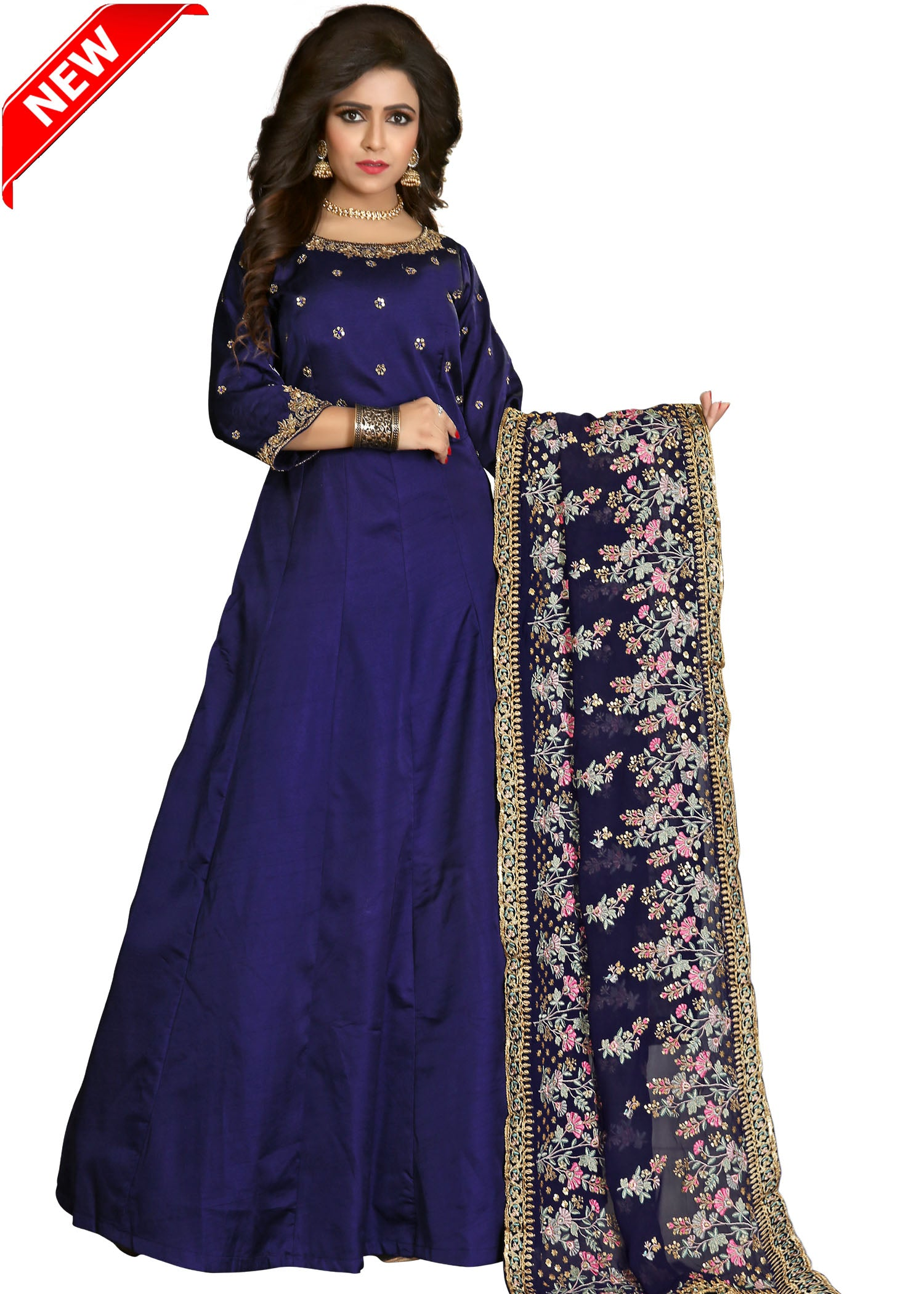 Silk Anarkali Suit with contrast hand embroidery-Navy Blue
