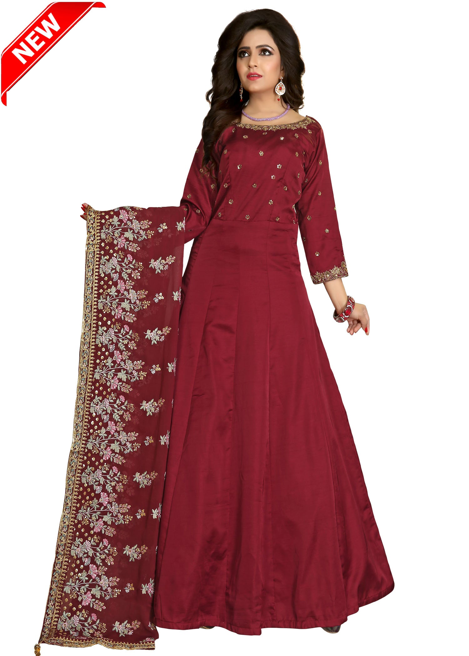 Silk Anarkali Suit with contrast hand embroider-Maroon