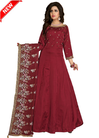 Silk Anarkali with contrast hand embroidery/Maroon
