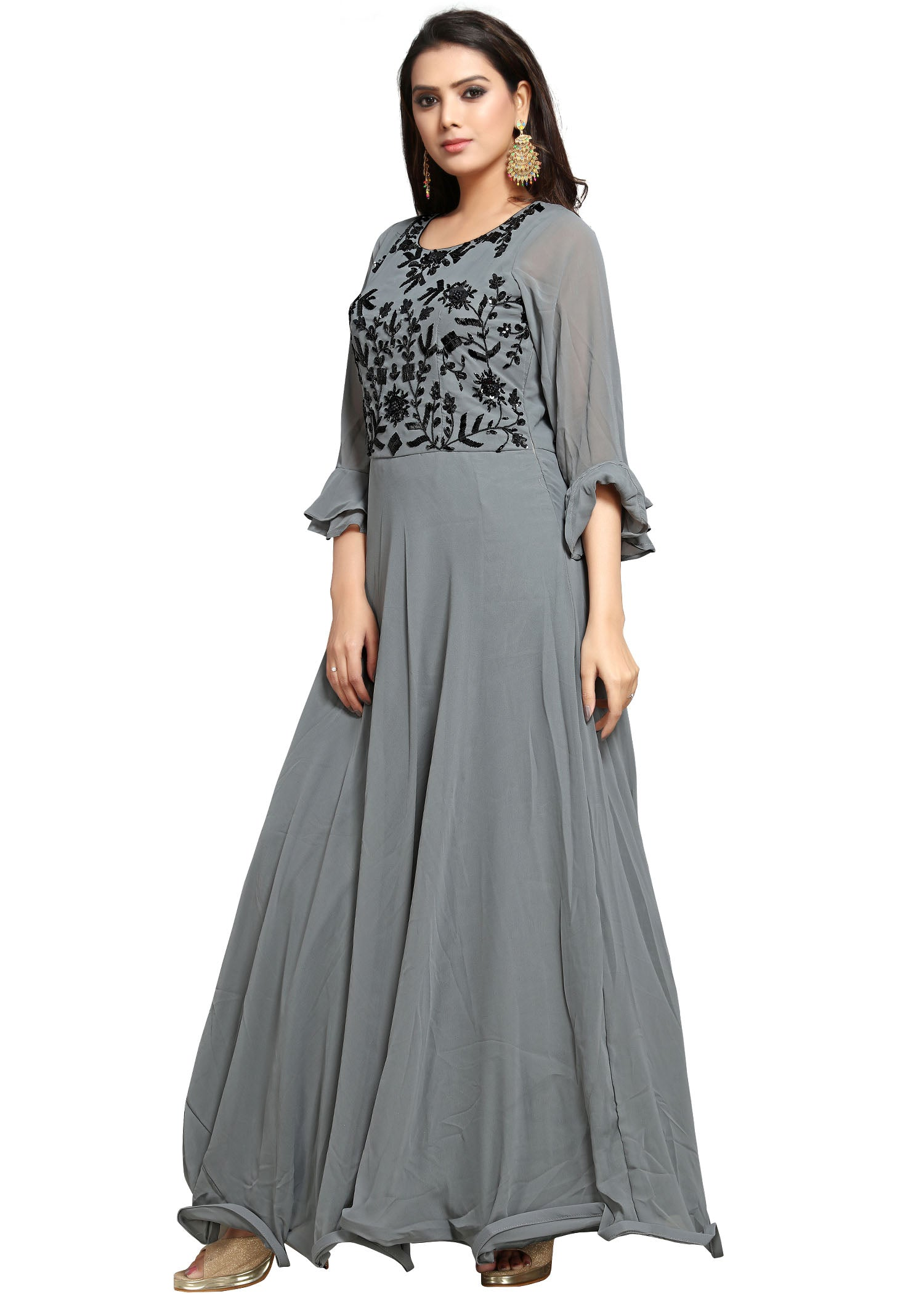 Georgette Anarkali Gown - Grey